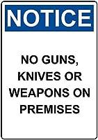 警告サイン-銃がないことに注意してください。通知のためのインチ通りの交通危険屋外の防水および防錆の金属錫の印