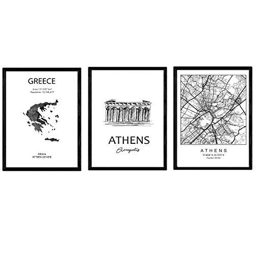 Pak posters en monumentenlanden. Athene stadsplattegrond, kaart Griekenland Akropolis monument. A3-formaat