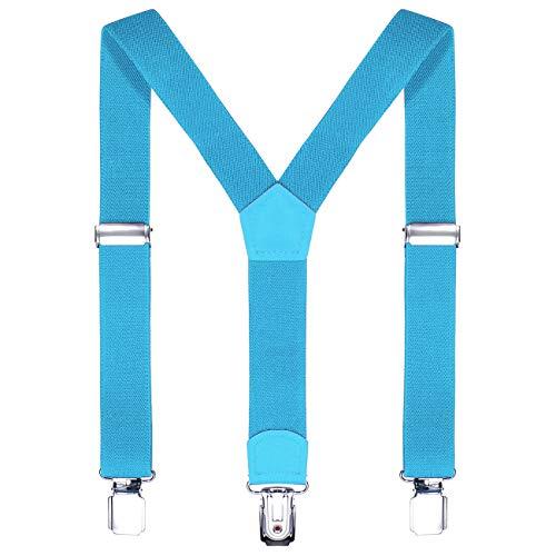 DonDon Kinder Hosenträger hellblau 2 cm schmal längenverstellbar für eine Körpergröße von 80 cm bis 110 cm bzw. 1-5 Jahre