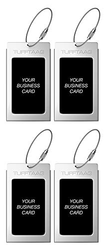 Luggage Tags TUFFTAAG for Business Cards, Metal Suitcase Labels, 4 Pack Bundle (4 Steel)