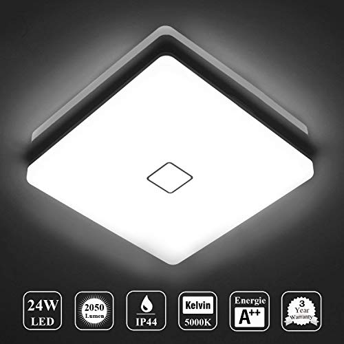 ba/ño etc LE 24W L/ámpara LED de techo Plaf/ón LED 2400lm 5000k Super brillante Blanco fr/ío impermeable IP54 luz de techo iluminaci/ón de techo ideal para sala de estar balc/ón pasillo cocina
