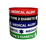 Diabetes Silicone Bracelets Type 2 Medical Alert (5 Pack) Adult Size Wristband for Men Women 7.8'