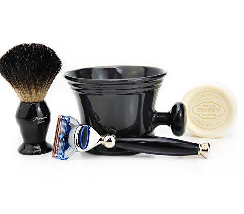 Haryali London Rasierset mit Rasiermesser, Rasierpinsel für schwarzen Dachs, Rasierbecher und Rasierset für perfekte Rasur