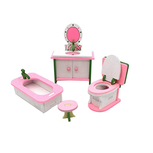 TOYMYTOY Mobili per la casa delle bambole Mini Mobili in Legno Decorazione per Casa Delle Bambole In Miniatura Giocattolo Casa di bambola (Bagno)