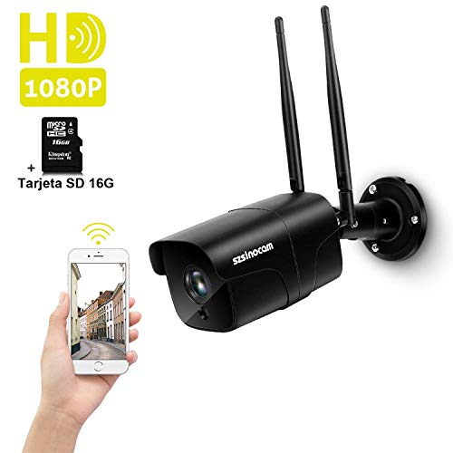 Cámara Vigilancia WiFi Exterior, SZSINOCAM Cámara de Vigilancia 1080P HD IP Camara Visión Nocturna de 30m, Detección de Movimiento, Alerta de Correo, Audio Bidireccional, iOS/Android/Windows