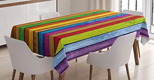 ABAKUHAUS Astratto Tovaglia, Vibrante di Legno, Rettangolare per Sala da Pranzo e Cucina, 140 x 170 cm, Multicolore