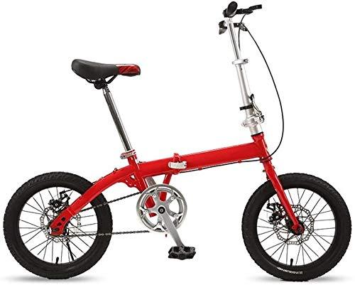 16 Pulgadas Bicicleta Bici Ciudad Plegables Adulto Hombre Mujer, Bicicleta de Montaña Btt MTB Ligero Folding Mountain City Bike Doble Suspension Bicicleta Urbana Portátil, H055ZJ