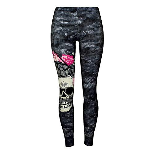 DUKUE Pantalones de Yoga Mujer Flor de Calavera Leggings Negros Pantalones con Estampado Digital Pantalones Stretch Joggng Pantalones Tallas Grandes Pantalones de chándal