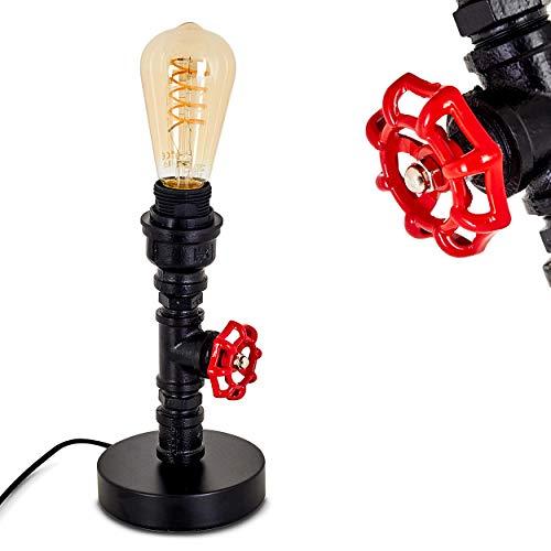 Tischleuchte Mairengo, moderne Tischlampe aus Metall in Schwarz/Rot, 1-flammig, 1 x E27-Fassung max. 60 Watt, Leuchte im Retro/Vintage Design m. An-/Ausschalter am Kabel, LED geeignet