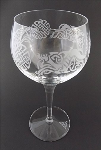 IncisoArt Hand Etched Italian Crystal Goblet Sandblasted (Sand Carved) Handmade Wine Water Glass Engraved Celtic Dragon Celtic Knot (1, 500 Milliliter (17 Ounce) Red Wine)