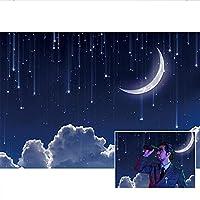 Qinunipoto 写真撮影用 背景布 撮影用 背景 布 装飾背景 月 星空 白雲 青い空 写真背景布 おとぎ話背景幕 背景幕 撮影 小道具 商品/人物撮影 カスタマイズ可能な背景 写真背景 子供用 新生幼児用 ビニール 1.5x1m