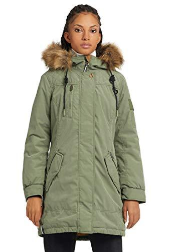 khujo Damen Mantel LETIZIA kurzer Wintermantel mit Kapuze und abnehmbarem Kunstfell