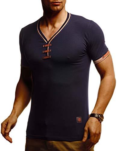 Leif Nelson Herren Sommer T-Shirt V-Ausschnitt Slim Fit Baumwolle-Anteil Basic Männer T-Shirt V-Neck Hoodie-Sweatshirt Kurzarm lang Weißes Jungen Shirt Kurzarmshirts LN4890 Dunkel Blau Large