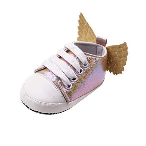 FNKDOR Schuhe Neugeborene Baby Lauflernschuhe Babyschuhe Mädchen Braun 12-15 Monate Bequem rutschfest Mit Sequin Flügel