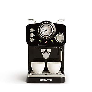 IKOHS THERA Retro - Cafetera Express para Espresso y Cappucino, 1100W, 15 Bares, Vaporizador Orientable, capacidad 1.25l, Café Molido y Monodosis, Con Doble Salida (Negro)