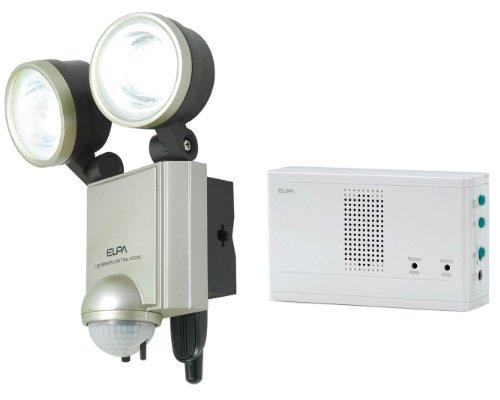 ELPA 屋外用センサーライト AC電源 4wLED 2灯 無線チャイムセット ESL-402ACST