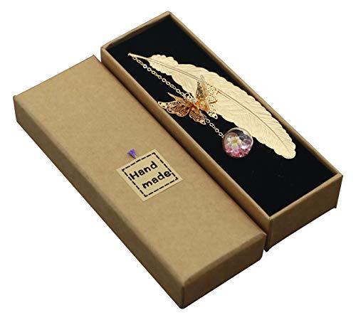 Segnalibro in metallo con piuma 3D farfalla e perline di vetro Eternal Dry Flower Ciondolo ideale per lettore, donna e bambini (oro piuma rosa fiore bianco)