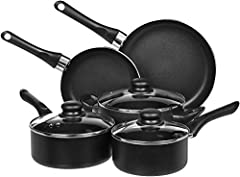 8-piece nonstick cookware set includes 8-inch fry pan, 10-inch fry pan, 1.5-quart sauce pan with lid, 2 quart saucepan with lid, and 3-quart casserole pan with lid Aluminum body with non-stick coating for easy cooking and cleaning--BPA-free Comfortab...