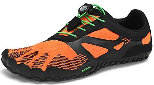 SAGUARO Hombre Mujer Minimalistas Zapatillas de Trail Running Ligeras y Respirable Zapatos Descalzos Gym Playa Calzado de Deportes Acuaticos para Asfalto Correr Senderismo, Zanahoria Naranja 44 EU