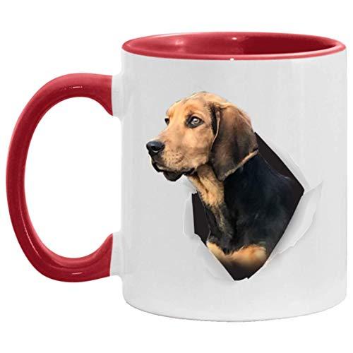 N\A Divertido Perro Polaco Negro Dorado Cara Regalos para Hombres Mujeres Amantes de los Perros Taza con Acento Rojo 11 oz