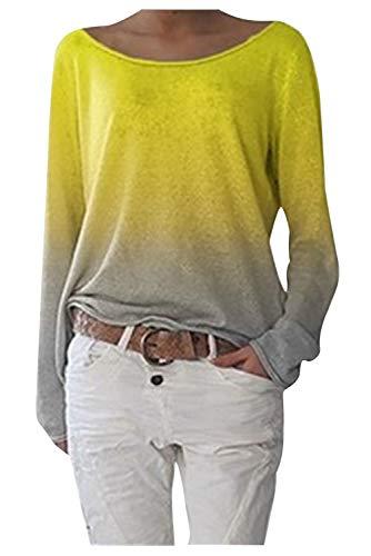 Camiseta Degradada Mujer Blusa Cuello Barco Manga Larga Murcielago Jersey Otoño Invierno Tunica Colores Pullover Sweatshirt Hippie Chic Camisa Multicolor Sueter Arcoiris T Shirt Sudadera Tie Dye Niña