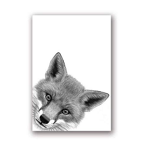 Fuchs Zeichnung Leinwand Kunst Poster Drucke Auf Malerei Tier Peekaboo Schwarz Weiß Wandkunst Bild Malerei Kindergarten Wanddekor 40x60 cm Kein Rahmen Wanddekoration Gemälde/großes Plakat