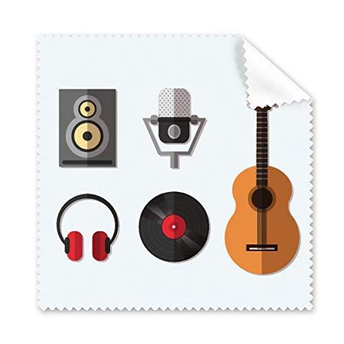 Gitaar Headset CD Microfoon Muziek Patroon Bril Doek Schoonmaken Doek Telefoon Scherm Cleaner 5 stks Gift