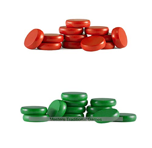 Masters Traditional Games Set of Crokinole disks (12 red, 12 Green Plus 2 spares)