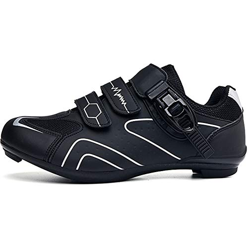 YQSHOES Zapatillas Ciclismo Carretera para Hombre, Zapatillas Bicicleta Montaña Compatibles con Zapatillas Bicicleta SPD y Delta Cleats,Blanco,37EU/5.5UK/6US