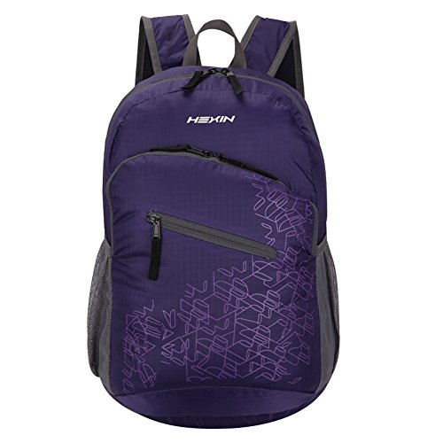 HEXIN Water Resistant Rated 20L/33L Lightweight Foldable Backpack Hiking Daypack Purple