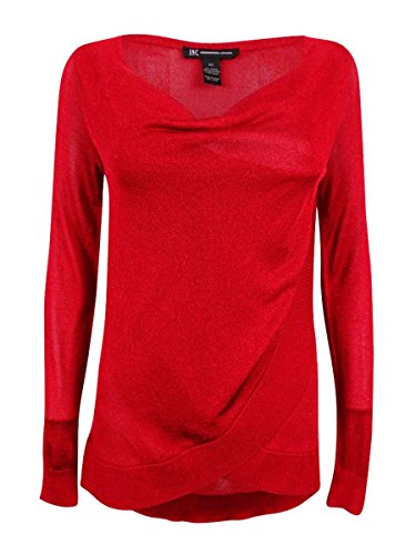 INC Womens Metallic Crossover Pullover Sweater Red S