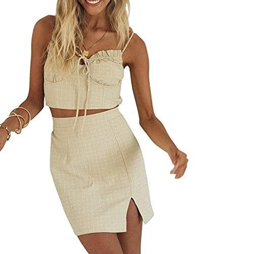 I3CKIZCE Conjunto de 2 camisetas sin mangas con cordón, minifalda, para mujer, sin hombros, color liso, ajustado, para la playa, informal, sexy, elegante y verano, Albicoque., L