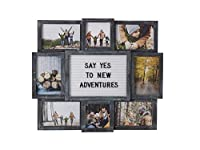 MELANNCO Customizable Letter Board with 8-Opening Photo Collage, 19-Inch-by-17-Inch, Black [並行輸入品]