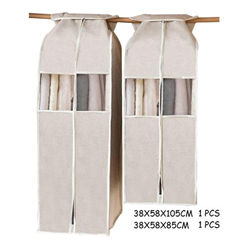 ZHAOTARPS Clothes Covers, Cotton and Linen Clothes Dust Cover Hanging Coat Dust Bag Household Waterproof Clothes Hanging Bag