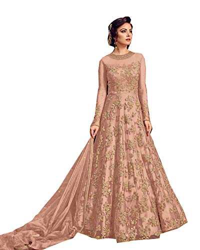 Delisa Indian/Pakistani Bollywood Party Wear Long Anarkali Gown for Womens Razzi violate N (Light Orange  SMALL-38)