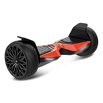 "TWO DOTS Hoverboard Off Road All Terrain Self-Balancing Hoverboard Bluetooth Speaker and LED Lights APP Support 8.5"" Solid Rubber Two Wheels Self Balancing Scooter UL Certified for Adults/Kids Orange"