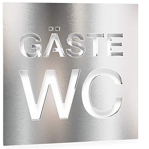 Edelstahl Gäste WC-Schild – selbstklebend & pflegeleicht – Design Toiletten-Schild – W.08.E