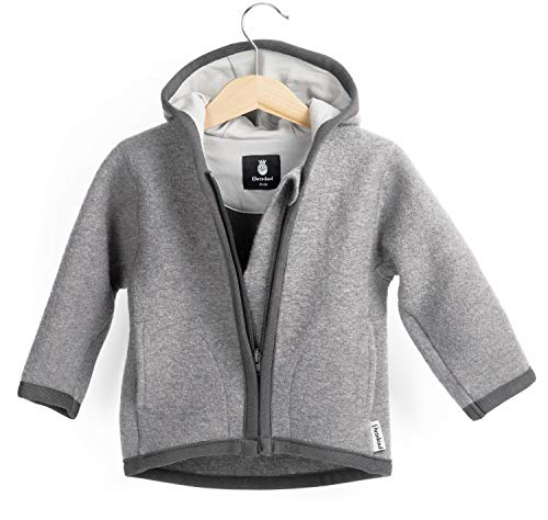Ehrenkind® Walkjacke | Jacke für Kind aus Natur Schurwolle mit Reißverschluss | Walk Jacke für Baby | Grau Gr. 86/92