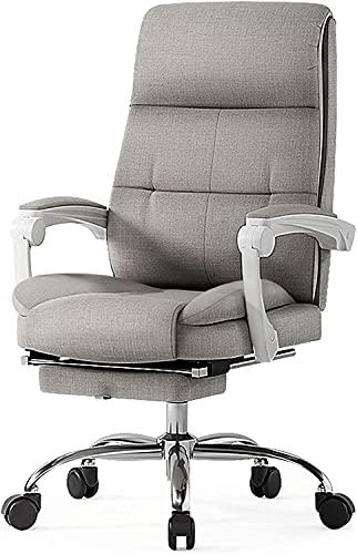 FMOGE Komfortable graue Baumwollwäsche Schreibtisch Computerstühle mit Waffen und Rückenstütze, hochrücker Executive Office-Stuhl, Liegestuhl mit Fußstütze