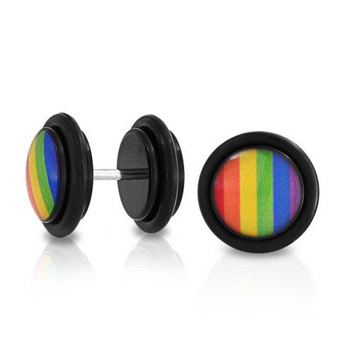 Bling Jewelry LGBT Regenbogen Gay Pride Cheater Faux Stecker Ohrring Für Unisex 14 G Edelstahl