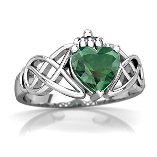 glowspectrajewels Claddagh Celtic Knot Ring 0.55 CTW Heart Cut Emerald 14K White Gold Fn (8)