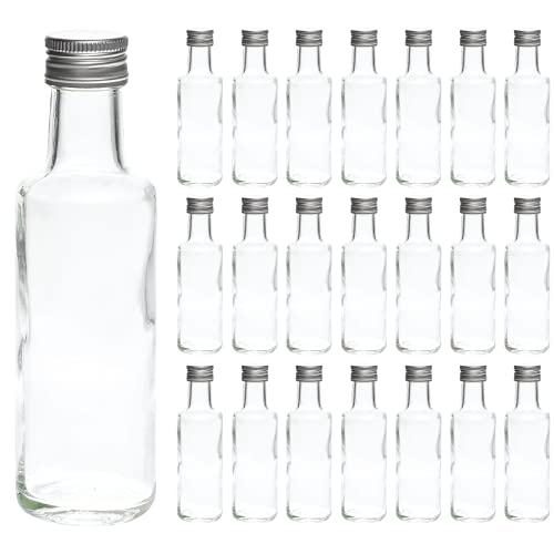 20 Leere Glasflaschen 100 ml DOR-SCH kleine Flasche Schnapsflaschen Likörflasche Essigflaschen Ölflaschen mit Schraub-Verschluss 0,1 Liter zum selbst befüllen von slkfactory