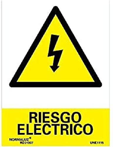 Normaluz RD30007 - Señal Riesgo Eléctrico PVC Glasspack 0.7 mm 21x30 cm, Armadillo