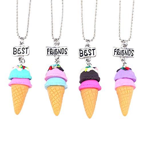 """🥰【Collar de la amistad】- diseño en forma de helado, el collar BFF viene con etiquetas de """"Mejor"""" y """"Amigo"""". Compartan sus historias de amistad, para recordarse mutuamente su vínculo especial. 🥰【Alta calidad】- el collar está hecho de aleación y resina..."""