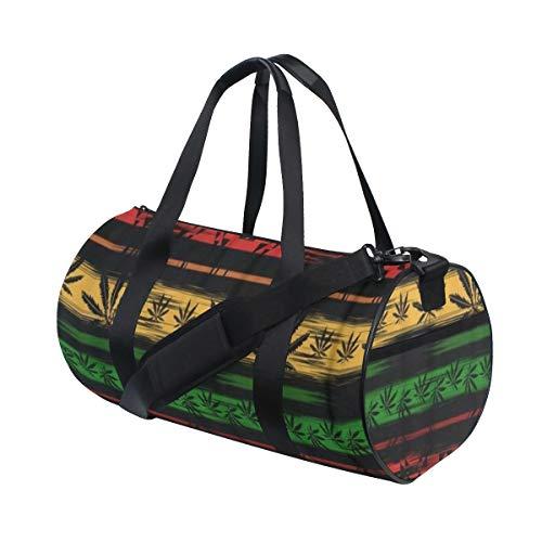HARXISE Extracto verde de Jamaica del cannabis marihuana en colores rastafaris,Bolsa de equipaje de viaje Deporte Lienzo ligero Equipaje de fitness Bolso de tambor Desmontable