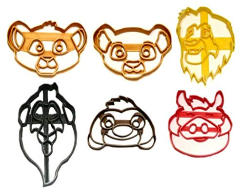 THE LION KING MOVIE FICTIONAL CHARACTERS FACE HEAD CUB SIMBA NALA TIMON PUMBAA MUFASA SCAR HAKUNA MATATA PRIDE ROCK SET OF 6 SPECIAL OCCASION COOKIE CUTTER BAKING TOOL 3D PRINTED MADE IN USA PR1250