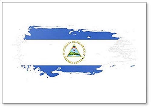 Nicaragua Flagge Grunge Brush Stroke Illustration Kühlschrankmagnet