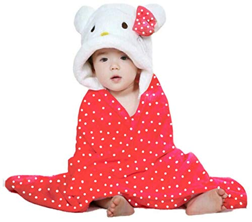 Fareto New Born Baby All Season Use Hooded Blanket Cum Wrapper(0-3 Months)(Red)