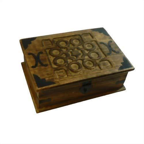 Schmuckschatulle Holzkiste Holzbox Schatztruhenlook Holztruhe Schmuckkästchen Antik-Look 26cm