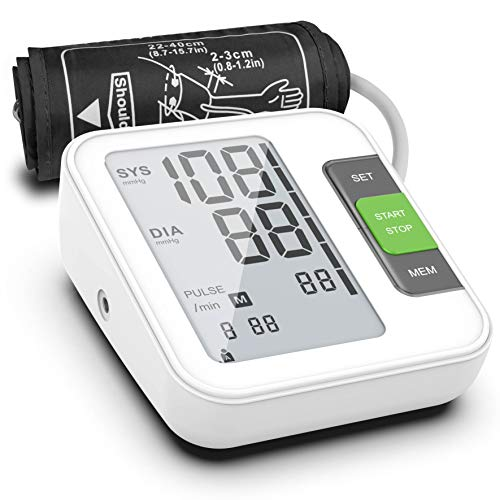 """Blood Pressure Monitor, Fully Automatic Upper Arm Digital BP Machine with Cuff 8.7"""" - 15.7"""", 240 Memory, 2 Users, LCD, Intelligent Broadcast - FDA Approved"""